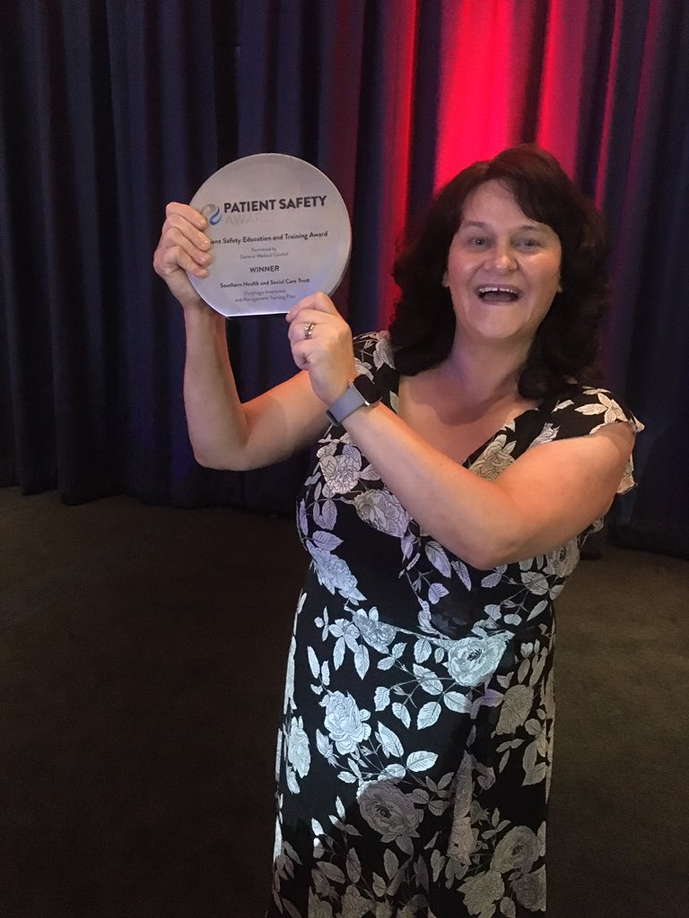 Louise Campbell, who is part of the Dysphagia Support Team was delighted to collect the Patient Safety Education and Training Award on behalf of the team, at the HSJ Patient Safety Awards.